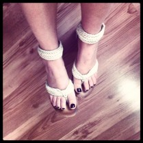 White leathery thong / ankle strap sandals
